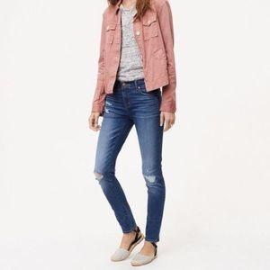 LOFT Petite Modern Skinny Distressed Ankle Jeans